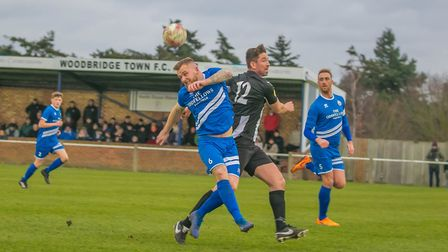 Mark Ray battling up front for Woodbridge Town. Picture: PAUL LEECH