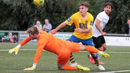 AFC Sudbury's Callum Harrison had a goal disallowed in their defeat at Bowers & Pitsea. Picture: CLI