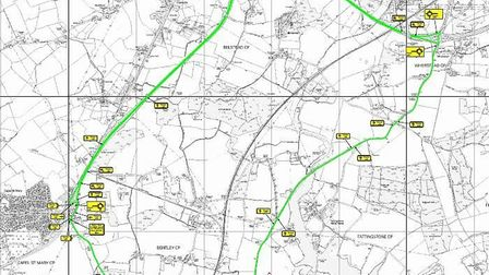 The 10 mile diversion route. Picture: SUFFOLK HIGHWAYS