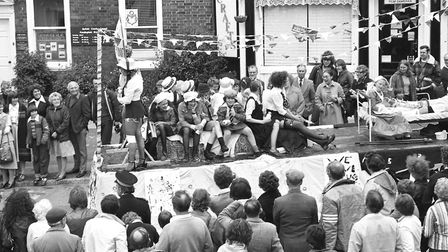 The Framlingham Gala procession makes its way through the streets in 1979 Picture: ARCHANT
