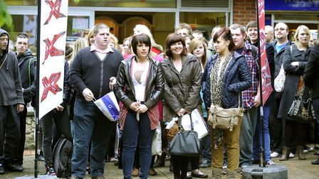 Hopefuls waiting in line at previous auditions for The X Factor at Lion Walk shopping centre in Colc