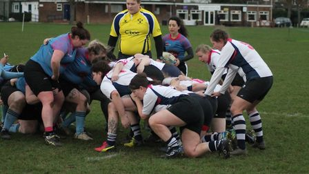 The Woodbridge Amazons, left, scrum down in their win over Chelmsford. Picture: YVETTE WOODING