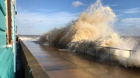 Big waves crashing against the shore in Southwold Picture: SARAH LUCY BROWN