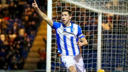 Luke Prosser celebrates after heading home against Notts County, only for the goal to be ruled out f