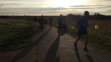 In the shadows: a cold but sunny morning greeted a record field of 505 runners and walkers at last S