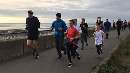 Runners, young and old, stride out along the sea-wall during last Saturday's Southend parkrun, held