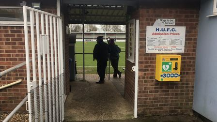 A peak through the entrance into The Millfield, the home of Hadleigh United