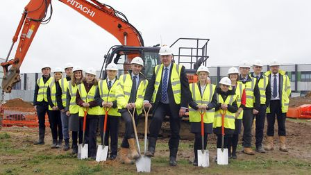 Work underway for new classrooms at the Sybil Andrews Academy in Bury St Edmunds. Picture: PAUL NIXO