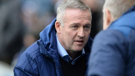 Ipswich Manager Paul Lambert is greeted by Tony Mowbray at Ewood Park. Picture Pagepix