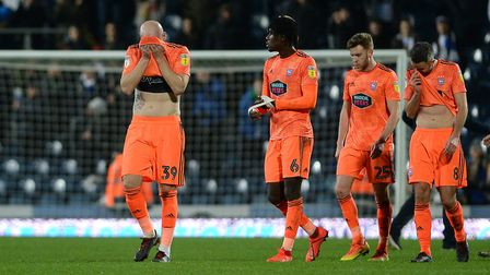 The Ipswich players disappointed after a disastrous second half at Ewood Park Picture Pagepix
