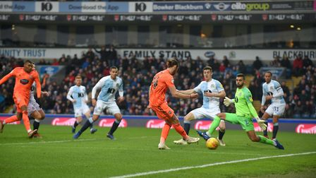 Will Keane is denied from close range by the goalkeeper at Ewood Park Picture Pagepix