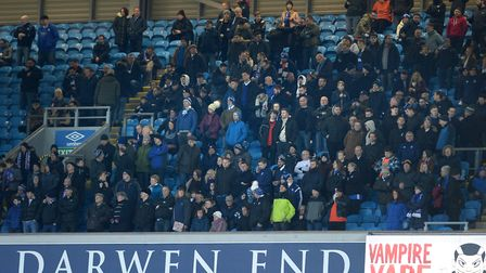 The travelling Ipswich fans high up in the Darwen End stand at Blackburn Picture Pagepix