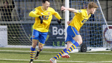 Billy Holland has just netted a dramatic winner for Sudbury and celebrates with Phil Kelly Photo: PA