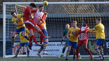 The Sudbury defence comes under pressure from Tilbury Photo: PAUL VOLLER