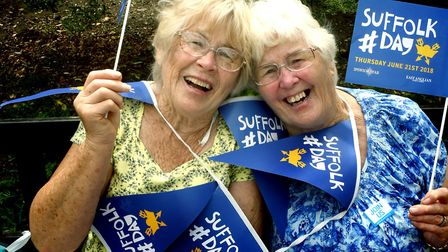 Suffolk Day in the Abbey Gardens Bury St Edmunds. Ann Clarke, 79, and Jane Carter, 81 visiting from