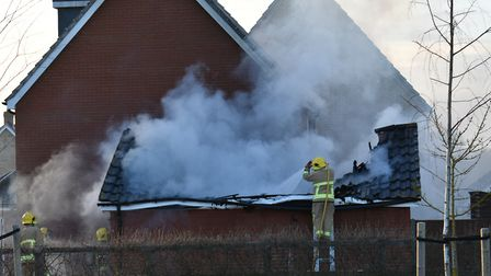 Firefighters tackle a house fire in Hadleigh. Picture: SEB FRANKLIN AND TOM JOHNSTON