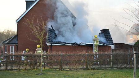 Two fire engines were called to a house fire in Hadeligh. Picture: SEB FRANKLIN AND TOM JOHNSTON