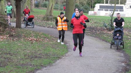 Several runners were pushing buggies, at Saturday's 333rd staging of the Ipswich parkrun. Picture: