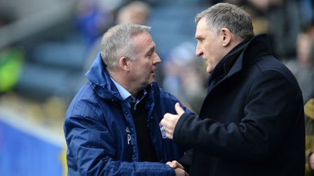 Ipswich boss Paul Lambert is greeted by Blackburn manager Tony Mowbray at Ewood Park. Picture Pagep