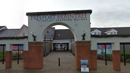 The main entrance of Freeport Braintree, which is home to a branch of Chapelle, a jewellery company