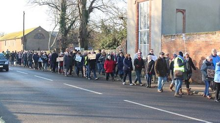 The people from Long Melford on the Save Our Skylark Fields march. Picture: RICHARD MICHETTE