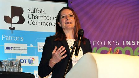 Goldie Sayers spoke at the Suffolk's Inspiring Women Lunch, where she also received an award. Pictu