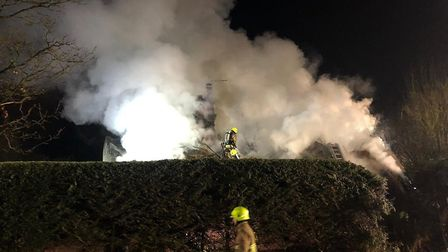 Teams from across north Essex are battling the blaze Picture: JAKE FOXFORD