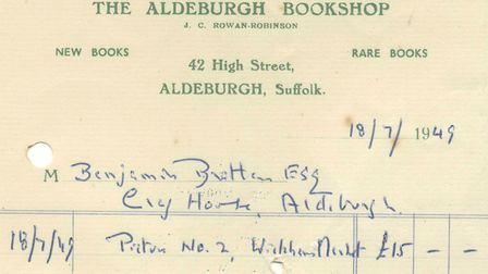 Britten's first recorded purchase at The Aldeburgh Bookshop: a picture of a local scene, in July 194