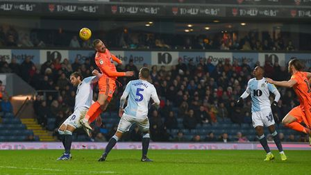 Luke Chambers with a second half header saved by the Blackburn keeper Picture Pagepix