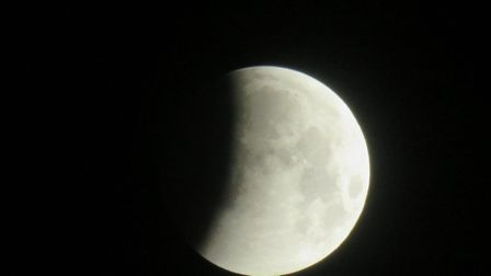 The lunar eclipse was expected to be visible from 3.33am on Monday Picture: ALEX EMMA