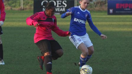 Town winger Sophie Welton during Ipswich Town FC Women 5-0 defeat at home to Actonians Picture: ROSS
