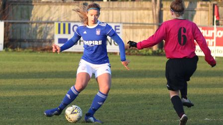 Town defender Harriet Petley on the ball Picture: ROSS HALLS