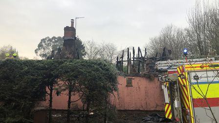 The Blue Barns Cottage, in Harts Lane in Ardleigh, was gutted by the fire - with Essex firefighters