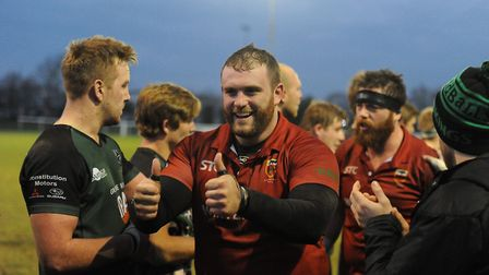 Winners are grinners - James Mitchell celebrates Colchester's win over North Walsham. Picture: PICAX