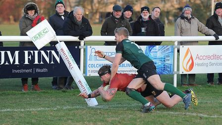Brock Price score Colchester's opening try against North Walsham just before half time. Picture: PIC