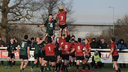 Danny Whiteman towers above the opposition to secure Colchester's line out ball. Picture: PICAXIS PH