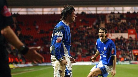 Alan Lee celebrates his second goal as Town beat Southampton 2-0 at St Mary's in 2006