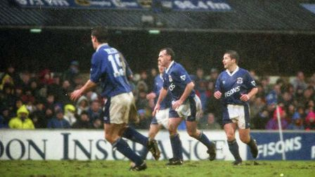 John Wark and Stuart Slater scored as the Blues drew 2-2 with Chelsea at Portman Road in 1995