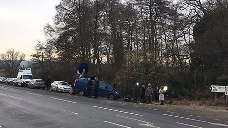 Media gather at the roadside of the A149 at Babingley where the Duke of Edinburgh, Prince Philip, h