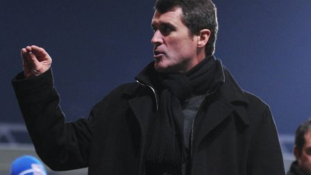 Roy Keane gestures to Ipswich Town fans after the 1-0 home defeat to Nottingham Forest in January 20