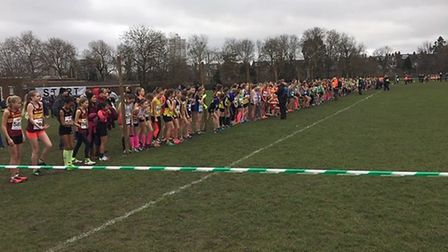 The start of the under-13 girls' race at the South of England Championships, held on Hampstead Heath