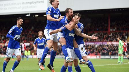 Tommy Smith celebrates after scoring Ipswich's fourth at Brentford on Boxing Day in 2014 - sending T