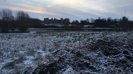 A snowy Framlingham Castle Picture: ANDREW HIRST
