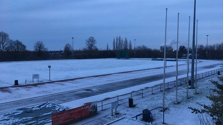 The running track at Bury St Edmunds Leisure Centre under a blanket of snow Picture: MICHAEL STEWARD