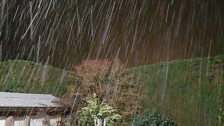 Snow falling in Walsham le Willows Picture: DARREN ELLIS