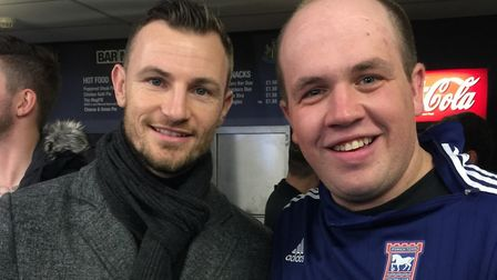 Ipswich Town fan Josh was a season ticket holder for 19 years - he is pictured here with former Town