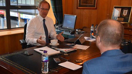 Ipswich Town owner Marcus Evans speaks to chief football writer Stuart Watson. Picture: LAURA MACLEO