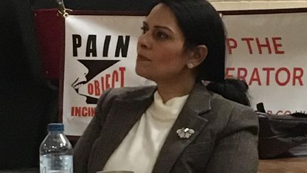 Priti Patel, MP for Witham has been supporting campaigners worried about a new incinerator planned f
