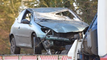 Sonya Colton's Peugeot after the accident at Thwaite Road, Thorndon Picture: GREGG BROWN