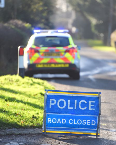 Police cordoned of the road after the crash at Thwaite Road, Thorndon Picture: GREGG BROWN